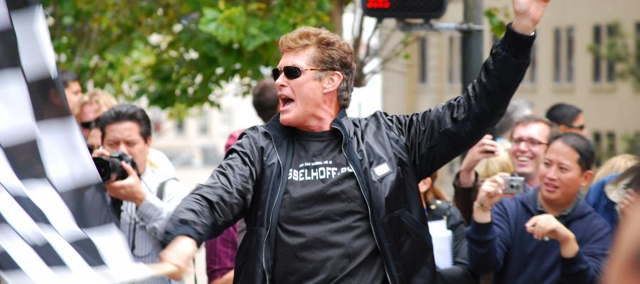 David Hasselhoff crosses the finish line